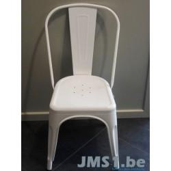 6 Chaises métal  laque blanc